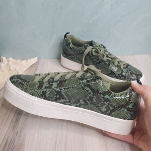 Shoes - NEW Green Snake Lace Up Sneakers